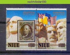 Mhl205 ZEGEL OP ZEGEL STAMP ON STAMP MOUNT RUSHMORE FLAGS POSTZEGELTENTOONSTELLING STAMP EXHIBITION NIUE 1986 PF/MNH - Briefmarken Auf Briefmarken