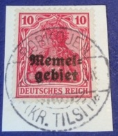 Memel Memelgebiet Cad / Stempel ROBKOJEN KR TILSIT 1920 RRR !  Geprüft Dr. Petersen BPP Michel 2 Germania - Memel (1920-1924)