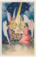 Buon Natale - 4 Angels With Baby Jesus - Gilded - Cecami - Postmark 1937 - Angels