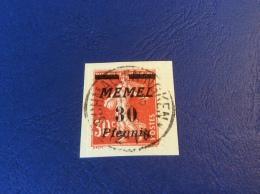 Memel Memelgebiet Cad / Stempel SCHMALLENINGKEN 1923 Geprüft Dr. Petersen BPP Michel 59 Semeuse (Brief Cover Lettre) - Memel (1920-1924)