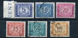 PIA - ITA - Specializzazione : 1957 - 58 : Segnatasse  - (SAS 111/I-113/I-114/I-115/I-118/I E 119 CAR 30-31-32-36 E 37 ) - Variétés Et Curiosités