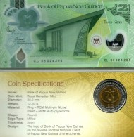 PAPUA NEW GUINEA 2 KINA NOTE/COIN GREEN BIRD 35TH ANN.OF BANK FRONT SHELL BACK POLYMER D(20)08 P.? UNC READ DESCRIPTION - Papua New Guinea