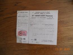 474   FACTURE   SERVANT  CHARROUX     POITIERS     QUITTANCES - 1900 – 1949