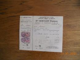 475   FACTURE   SERVANT  CHARROUX        FERS  CHARBONS   POITIERS     QUITTANCES - 1900 – 1949