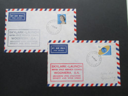 Australien 1968 Skylark Launch British Space Research Council Woomera S.A. 2 Belege. Sonderstempel - Briefe U. Dokumente