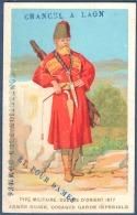 Chromo Chancel Laon Nouveautés Confection Litho Aubry Type Militaire Guerre Orient 1877 Armée Russe Cosaque - Trade Cards