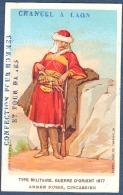 Chromo Chancel Laon Nouveautés Confection Litho Aubry Type Militaire Guerre Orient 1877 Armée Russe Circassien - Trade Cards