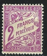 "Andorre Taxe YT 19 "" Duval 2F. Violet "" 1938-41 Neuf *"