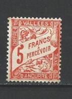 """Andorre Taxe YT 20 """" Duval 3F. Orange """" 1938-41 Neuf * - Timbres-taxe"""