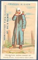 Chromo Chancel Laon Nouveautés Confection Litho Aubry Type Militaire Guerre Orient 1877 Armée Russe Infanterie Russie - Trade Cards