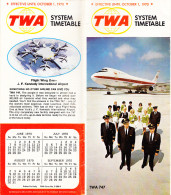 TWA , AIRPLANE TIMETABLE 1970,24 PAGES - World