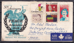 CANADA,  1968,  FDC, 50th Anniversary, Peace Armistice, Peace And Liberty, National War Memorial, Air Mail - Sellos De Beneficencia
