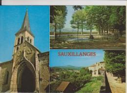 D63 - SAUXILLANGES - L'EGLISE AVEC SON CLOCHER TYPIQUE-PLACE DE LA PROMENADE-VUE SUR VALLEE-MULTIVUES-CPSM Grand Format - Other Municipalities