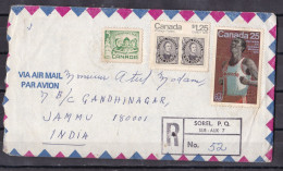 CANADA,  1978, Registered  Airmail Cover From Canada To India, 3 Stamps, Multiple Cancellations, - Storia Postale