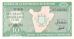 BURUNDI 10 FRANCS 1991 P-33b UNC [BI214f] - Burundi