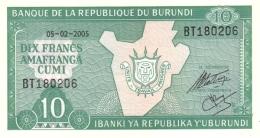 BURUNDI 10 FRANCS 2005 P-33e UNC  [BI214k] - Burundi