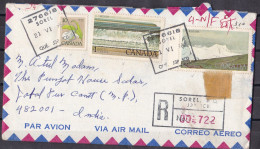 CANADA,  1982, Registered  Airmail Cover From Canada To India, 3 Stamps, Multiple Cancellations, - Storia Postale