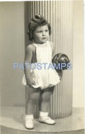 53569 REAL PHOTO GIRL WITH BALL TOY YEAR 1954 NO POSTAL TYPE POSTCARD - Alte Papiere