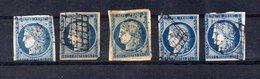 TIMBRE N°4 OBLITERE LOT DE 5 - 1849-1850 Cérès