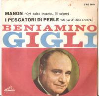 """Beniamino Gigli – Manon - I Pescatori DI Perle 7"""" NM - Opera"""