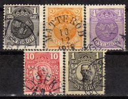 SCHWEDEN 1910 - MiNr: 57-63 Lot 5 Verschiedene Used - Oblitérés