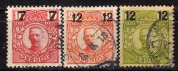 SCHWEDEN 1918 - MiNr: 109-114 Lot 3 Verschiedene Used - Suède