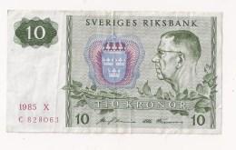 SUEDE SVERIGES RIKSBANK 10 KRONOR 1985 - Suède