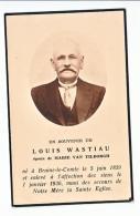 Décès Louis WASTIAU époux Marie Van Tilborgh Braine-le-Comte 1859 -1936 - Images Religieuses