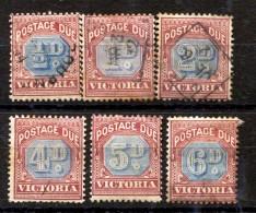 AUST. STATE - VICTORIA POSTAGE DUES MINT HINGED & USED. SCOTT J1-J6 - Used Stamps
