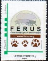 Timbre Personnalisé Logo Ferus Et Empreintes Ours Loup Lynx - édition 2014 - Lettre Verte - France
