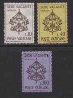 VATICAN, 1963, Mint Hinged Stamps , Vacant See, 429-431, #3873 - Vatican