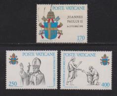 VATICAN, 1979, Mixed Stamps,  Arms Of Pope John Paul II, 736-738, #4331, Complete - Vatican