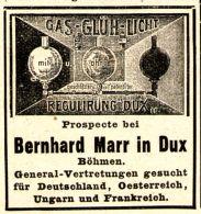 Original-Werbung/ Anzeige 1897 - GAS GLÜH LICHT REGULIRUNG BERNHARD MARR - DUX  (BÖHMEN) - Ca. 45 X 45 Mm - Pubblicitari