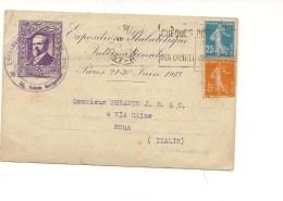 6421 Francia France 1913-22 Esposizione Filatelica Intero Postale  To Italy - Storia Postale