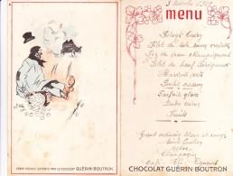 Cpa Rare Carte Menu Pub Publicité Chocolat Guérin Boutron Chromo Illustrateur Signé Wely J Art Nouveau 2 Volets1920 - Publicité