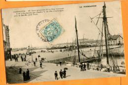 MAT-16  Cherbourg , Le Port, Voiliers. Cachet Frontal 1907, Précurseur - Cherbourg