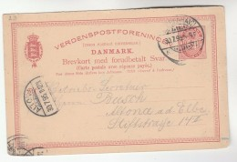 1895 Copenhagen  DENMARK POSTAL STATIONERY CARD To Altona Stamps Cover - Entiers Postaux