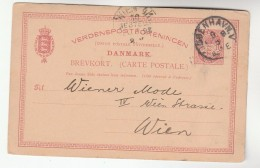 1898 Copenhagen  DENMARK POSTAL STATIONERY CARD  Wien AUSTRIA Stamps Cover - Entiers Postaux