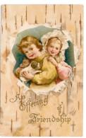 Offering Friendship Children Girl Boy W Puppy Dog Vintage Embossed Postcard 1909 - Holidays & Celebrations