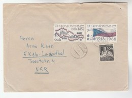 1968 Cheb CZECHOSLOVAKIA COVER  Stamps  60h ANNIV MAP 30h  FLAG , 10h BEZDEZ  To Germany - Czechoslovakia