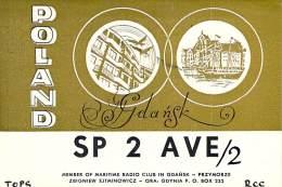 Amateur Radio QSL Card - SP2AVE/2 - Gdansk, Poland - 1969 - 2 Scans - Radio Amateur