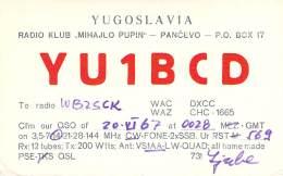 Amateur Radio QSL Card - YU1BCD - Pancevo, Yugoslavia - 1967 - Radio Amateur