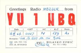 Amateur Radio QSL Card - YU1NBQ - Beograd, Yugoslavia - 1967 - Radio Amateur