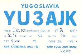 Amateur Radio QSL Card - YU3AJK - Yugoslavia - 1967 - Radio Amateur