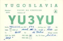 Amateur Radio QSL Card - YU3YU - Yugoslavia - 1968 - Radio Amateur