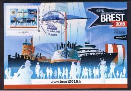CARTE MAXIMUM, FDC, 13/07/2016, TIMBRE LETTRE VERTE 0.70, Issu De Collector Des Fêtes Maritimes De BREST 2016. - 2010-... Vignettes Illustrées