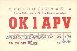 Amateur Radio QSL Card - OK1APV - Czechoslovakia - 1969 - Radio Amateur