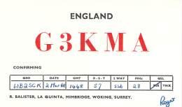 Amateur Radio QSL Card - G3KMA - Woking, Surrey ENGLAND - 1968 - Radio Amateur