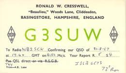 Amateur Radio QSL Card - G3SUW - Basingstoke, Hampshire ENGLAND - 1967 - Radio Amateur