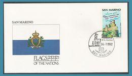 Saint-Marin 1990 1231 FDC Tourisme Forteresse Drapeau Oblitération 1992 San Marino - FDC